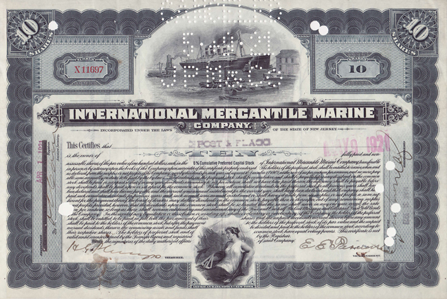 Aandeel International Mercantile Marine