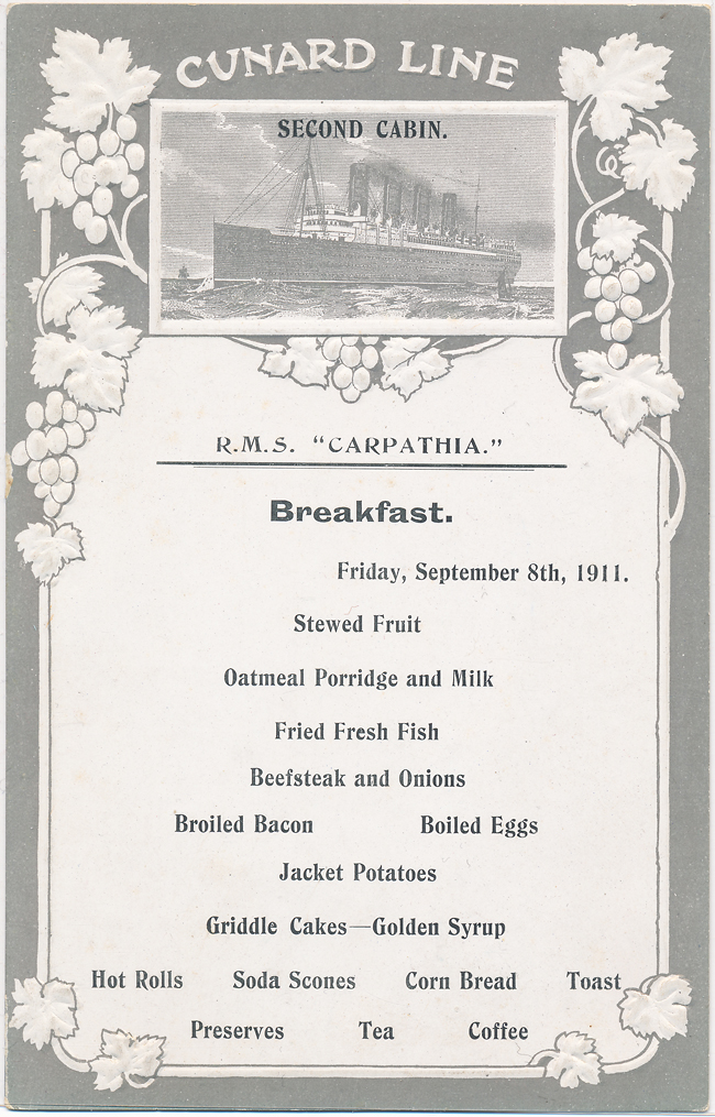 Menu RMS Carpathia