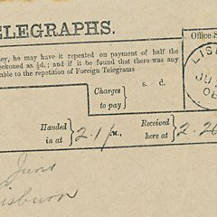 Huwelijkstelegram Thomas Andrews 1908